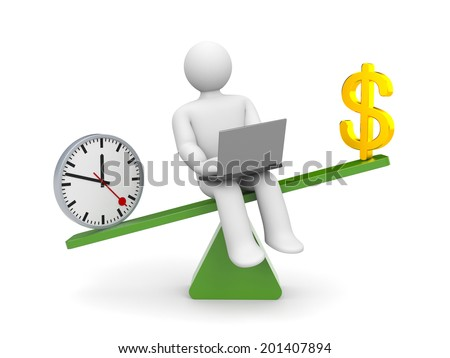 White character between time and money. Time outweighs - stock photo