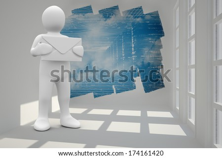 White character holding message against abstract screen in room showing technology interface