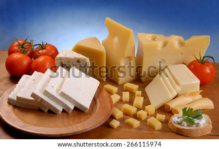 white cheese and tomato - stock photo