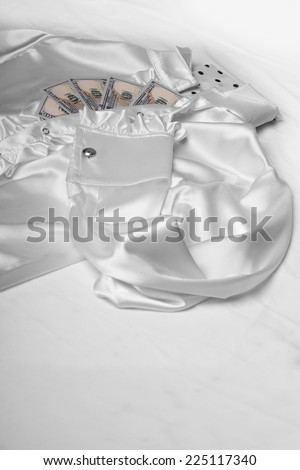 White chemise with plastron on a white background.