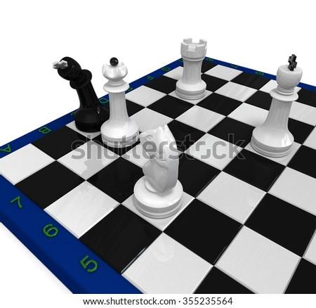 White chess around checkmated bend black king - stock photo