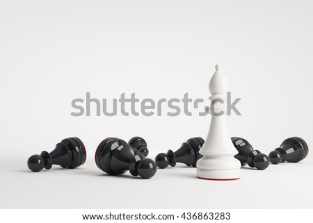 White chess bishop win black pawns. Business concept of leadership. Chess game over. 3d rendering.