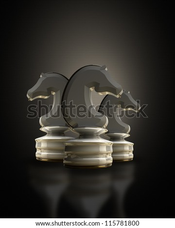 White chess horse in the dark background 3d illustration. high resolution