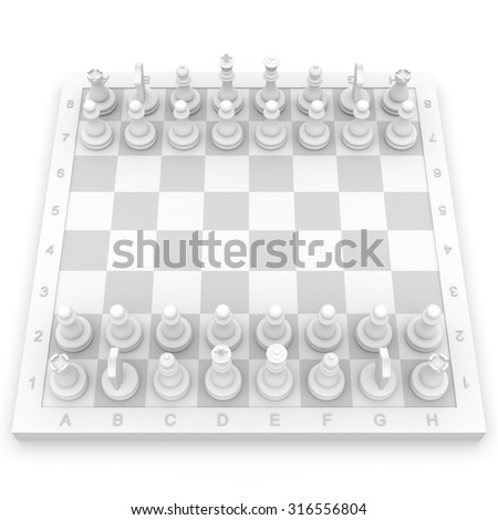 White chess isolated on white background