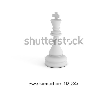 White chess king on white background. High quality 3d render.
