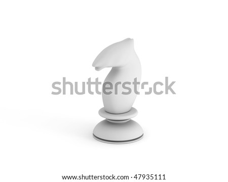 White chess knight isolated on white background. High quality 3d render. - stock photo