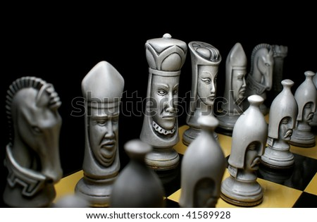 White chess line - stock photo
