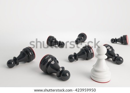White chess pawn win vs black pawns. Business concept of leadership. Chess game over. 3d rendering. - stock photo