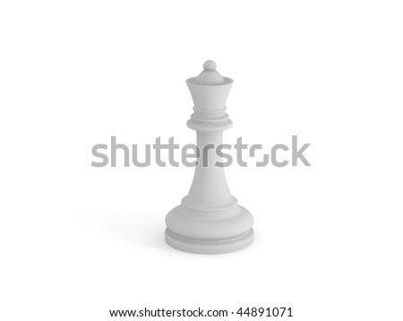 White chess queen on white background. High quality 3d render.