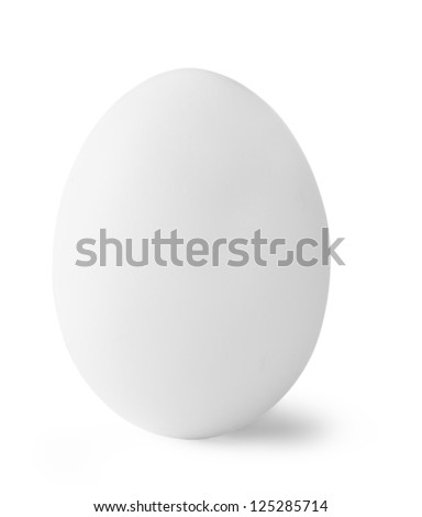 White chicken eggs isolated on white background