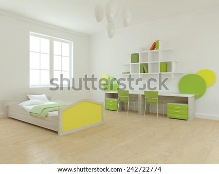 white children room-3D rendering - stock photo