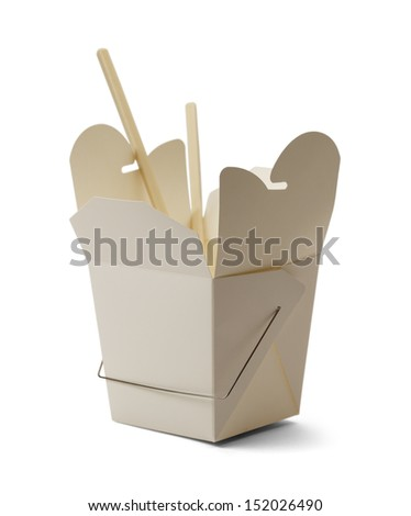 White Chinese Take Out Container and Chop Sticks Isolated on White Background. - stock photo