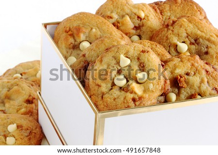White chocolate and toffee cookies.  Home baked goods as a treat for the entire family, delicious as a holiday gift too