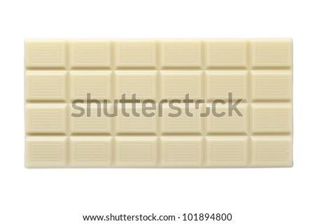 white chocolate bar, isolated on white - stock photo