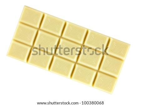 white chocolate bar, isolated on white background - stock photo