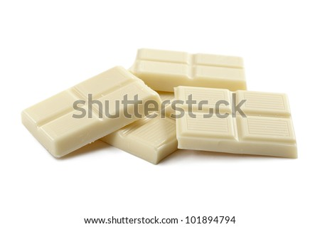 white chocolate block, on white background - stock photo