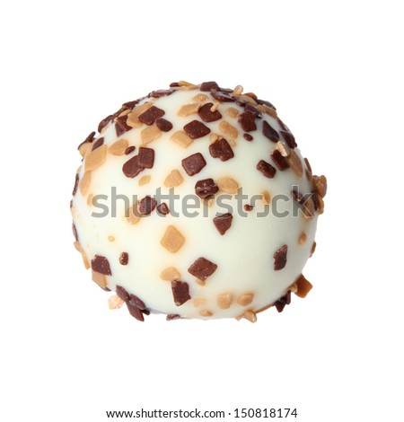 white chocolate candy isolated on white background. delicious truffle - stock photo