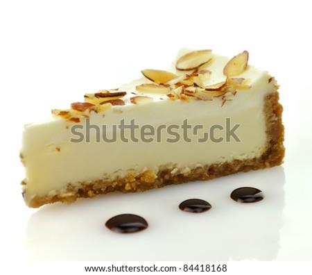 white chocolate cheesecake slice - stock photo