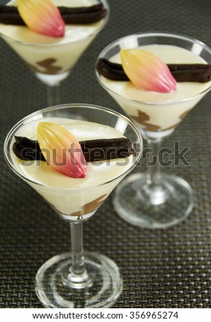 White Chocolate Mousse Dessert - stock photo