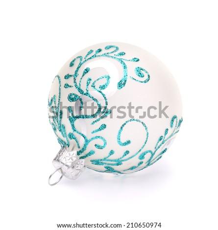 white christmas ball on white background - stock photo