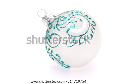 white christmas ball on white background - stock photo