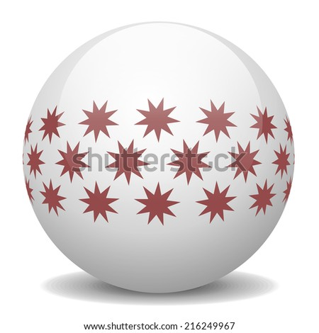 White Christmas ball with red stars isolated