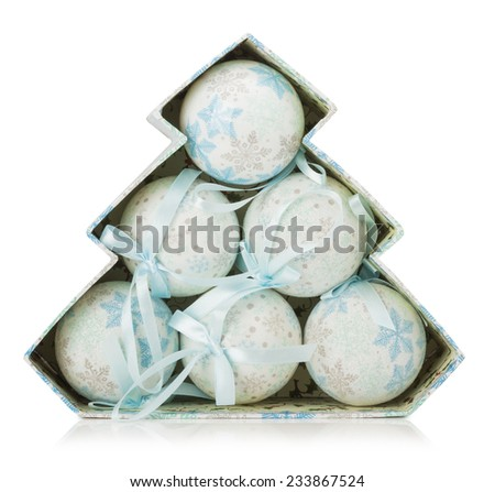 white Christmas balls isolated on the white background