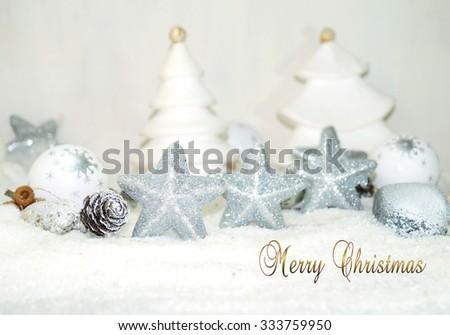 White Christmas - Christmas stars  - stock photo