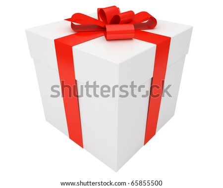 white christmas gift box wrapped with red ribbon isolated on white background