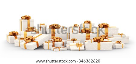 White christmas gift boxes, presents with orange bows and ribbons isolated 3d rendering - stock photo