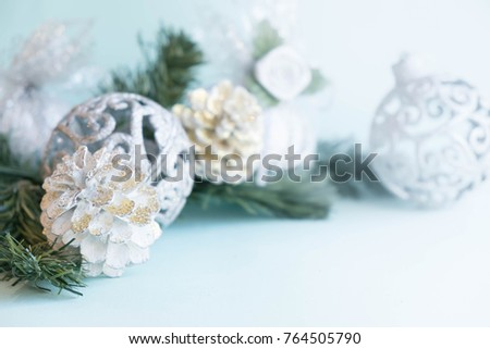 White christmas ornaments on light blue stock photo royalty free