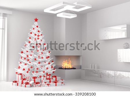 White christmas tree and gifts in the living room 3d render - stock photo