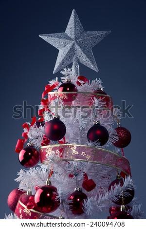 White Christmas tree, big silver star, red xmas tree decoration  - stock photo