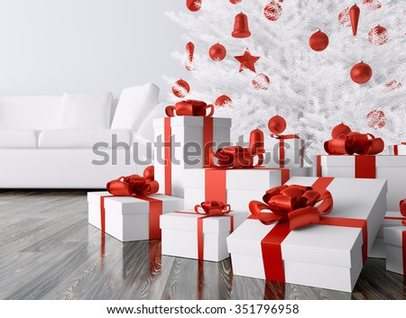 White Christmas tree, red baubles,gifts in a living room, interior 3d rendering - stock photo