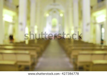 White Church blurred background.Priest Pastor Preacher Learning Bible Religion Truth Honesty Sacrament Practice Liturgy Memorial Spiritual Mental Spiritual Gospel Love Services Windows Catholic Holy - stock photo
