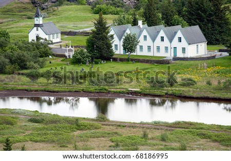 White Church in Thingvellir National park - famous area in Iceland, Iceland - stock photo