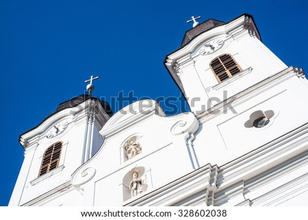 White church steeple with clear blue sky - stock photo