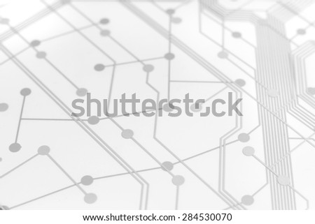 White Circuit Board used for keyboard with connection links - stock photo