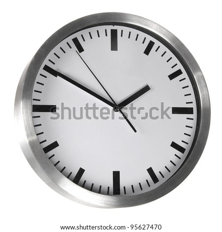 White classic office clocks isolated on white - stock photo