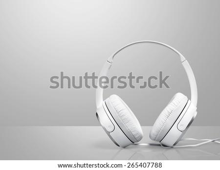 White. Classic retro headphone isolated on white background - stock photo