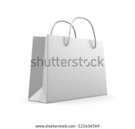 White classic shopping bag. Isolated on white - stock photo