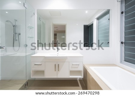 White clean modern minimal bathroom - stock photo