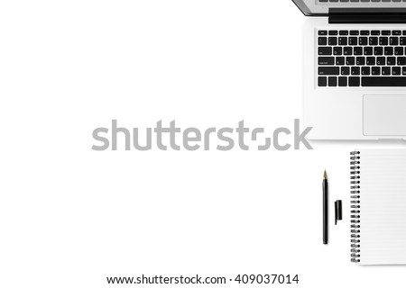 White clean office desk with laptop, notebook and pen. Top view with copy space. - stock photo