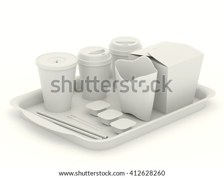 White clear set of utensils for fast food. Net Pattern for design. Clean mockup template with tray, paper cups, wok box, packaging for french fries, rolls, spoon, cup of coffee, sauce. 3d illustration - stock photo