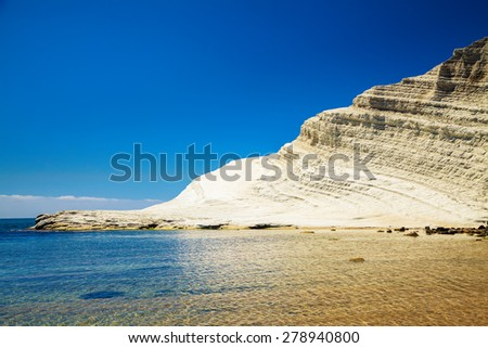 white cliff of Scala dei Turchi (Turkish Staircase) near Agrigento, Sicily - stock photo