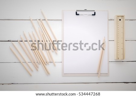 White Clipboard Blank Paper Pencils Ruler Stock Photo 472529701 ...