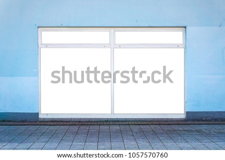 White Clipped Windows On Blue Wall Stock Photo (Edit Now) 1057570760 ...