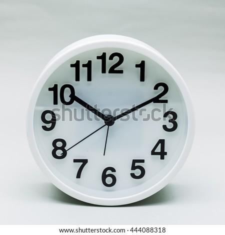 White clock at Ten o'clock ten minute - stock photo