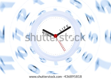 White Clock Black and Red Hand with Creative Concept Work Life Success on Blur Blue Number and White Background Copyspace on the Right  / Work Life Balance Integrated for Success People - stock photo