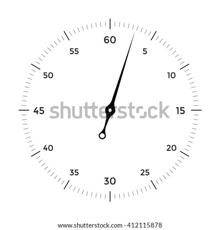 White clock face for with black pointer on white background. Illustration - stock photo